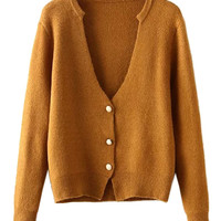 Brown V-neck Knitted Cardigan