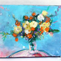 "Colorful Abstract Floral Painting  Small Canvas Contemporary ""Yellow and Orange Flowers in a Blue Room"""