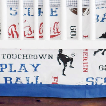 All Star Crib Bedding | Vintage Sports Baby Crib Skirt