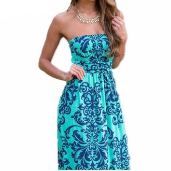 Summer Paisley Print Strapless Women Maxi Dress