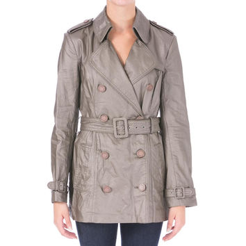 Catherine Malandrino Womens Faux Leather Double-Breasted Trench Coat