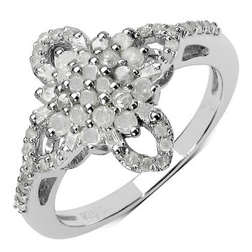 0.63 Carat Genuine White Diamond .925 Sterling Silver Ring