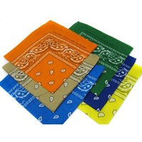 6 Color Pack Double Sided Print Paisley Bandana Scarf, Head Wrap - Pack Of 6 Assorted Colors Classic Paisley Bandanas