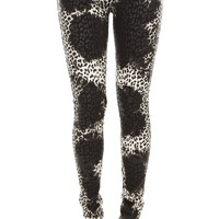 Tripp Natural White And Black Overdye Leopard Skinny Jeans Size : 7