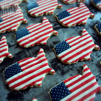 American Flag Sugar Cookies, USA, red white and blue, patriotic, 4th of July, July, Flag Day, United States of America, American, cookies