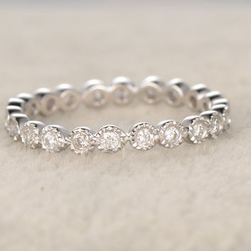 0.3ct Round Diamond Wedding Ring,Solid 14K White gold,Anniversary Ring,Full Eternity Band,Bezel Set,Infinity,stacking Ring,Matching band