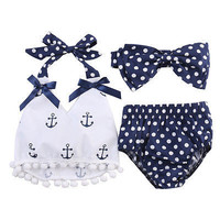3Pcs/set Infant Baby Girls Clothes Anchor Tops+Polka Dot Briefs+Head Band  Outfits Set Sunsuit 0-24M