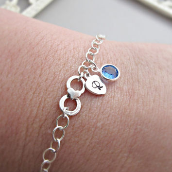Personalized Infinity Bracelet with initials, Mothers bracelet, Sterling silver Initial bracelet, Family initials, sisters, Friendship