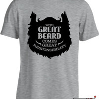 Funny Beard Shirt With Great Beard Comes Great Responsibility T Shirt Gifts For Geeks Joke Mens Tee MD-298