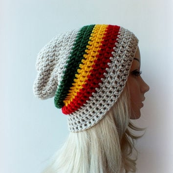 Rasta Beanie, Slouch, Mens or Unisex ,Stripped Slouchy Hat