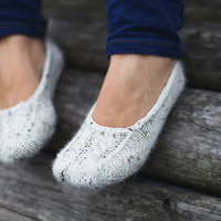 White hand knit luxury especially soft socks slippers for women or girl