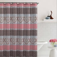 "Shower Curtain- Sonata Brown/ Coral Embossed Microfiber - 72""x 72"""