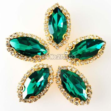 Free shipping Horse eye shape Gold bottom Crystal button,Malachite green AAA+ Glass Crystal sew on rhinestones