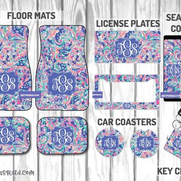 Lilly Pulitzer La Playa Car Mat /Plate & Frame / Seat belt cover / Key Chain / Car Coaster / Car Accessory Gift  Set