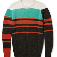 Maison Margiela - Striped Wool-Blend Crew Neck Sweater | MR PORTER