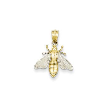 14k Yellow Gold and White Rhodium Two Tone Bee Pendant