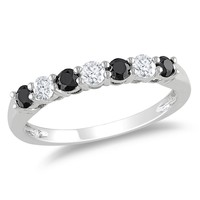 Black and White Diamond Fashion Ring in 10k White Gold
