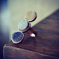 MOON RISING 3 Stone Druzy Ring in Copper size 8