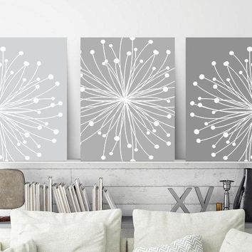 DANDELION Wall Art, CANVAS or Print, Gray Ombre Bedroom Wall Decor, Bathroom Decor, Gray Flower Dandelion Artwork, Set of 3, Home Wall Decor