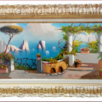 Italian painting Amalfitan Coast Italy Capri seascape landscape original oil on canvas of Silvio Valli Italy - Dipinto quadro Capri