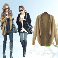 Women's Coat Sweater Long Sleeve Wool Batwing Cape Poncho Knit Top Cardigan = 1945722244
