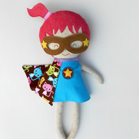 "Supergirl doll, dress up fabric doll, rag doll play set, 50 cm/19 "", dress up play, roll play, supergirl doll, rag doll, cloth doll play,"