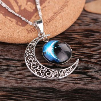 Law Of Attraction Galaxy-Moon Pendant