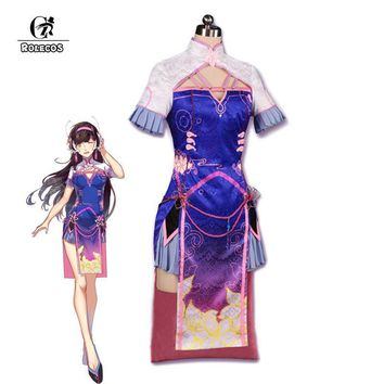 ROLECOS Over D.VA Cosplay Game Over Watch Cosplay Costume OW DVA Women Cheongsam Costumes Gradient Color Chinese Dress