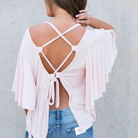Kamden Self Tie Top (Blush)