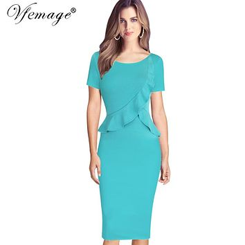 Vfemage Womens Elegant Ruffles Peplum Vintage Retro Summer 2017 Tunic Slim Work Business Casual Party Bodycon Pencil Dress 6138