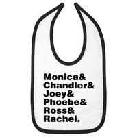 Friends Cast Names Infant Bib - White