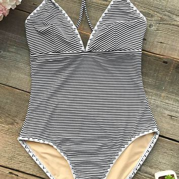 Cupshe Simple Living Stripe One-piece  Swimsuit