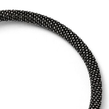 Black Plated Sterling Silver 5mm Popcorn Mesh Chain Bracelet, 7.5 Inch