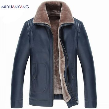 Men' Leather Jacket Casual Faux Leather Jackets Male Wool Liner Coats Zipper Fur Clothing Overcoat High Quality