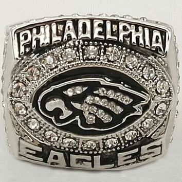Size 8-14 for 2004 Philadelphia Eagles Super Bowl Zinc Alloy silver plated Custom Sports Replica World Championship Ring for Men