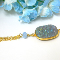Blue Druzy Gemstone Necklace Crystal Gold Elegant Understated Short Handmade
