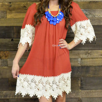 Giselle Rust Lace Trim Tunic