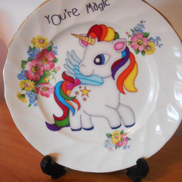 Kawaii 'You're Magic' Unicorn Side Plate- Floral Upcycled China Decorative