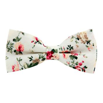LMF9GW New Classic Floral Pattern Bow Tie for Men Print Cotton Black Bowtie British Style Business Fashion Bowtie Wedding Party Gravata