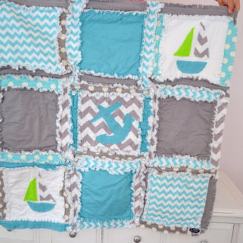 Crib Size RAG QUILT, Nautical, Chevron, and Polka Dot, Made to Order