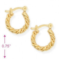 """0.75""""L Twisted Gold Plated Earrings Hoop"""