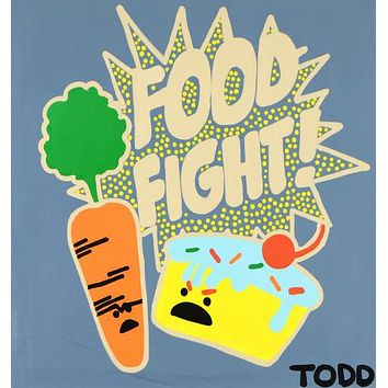 Food Fight - Original Acrylic Painting on Stretched Canvas by Todd Goldman