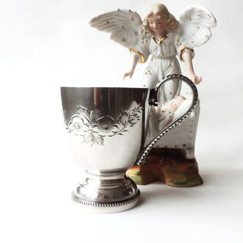 Vintage Baby Gift Christening Baptism Shower Birth First Birthday, Small Silver Plated Mug or Cup, Godchild Gift, Childs Keepsake