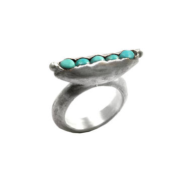 Turquoise Pea Pod Ring, Turquoise Ring, Minimalist and clean style, Silver and Turquoise, for women, Size7, genuine stone, turquoise jewelry