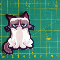A Cute Grumpy Cat Sticker Decal