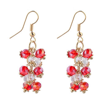CHOKER Gold Big Statement Earrings With Stones For Women Crystal Bead Earrings Fashion Jewelry Red Ruby Ethnic Pendientes Mujer