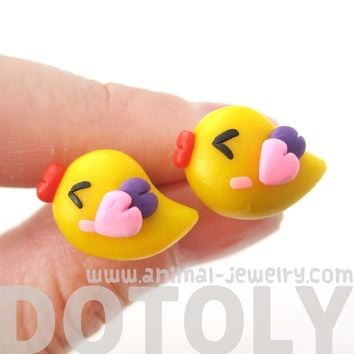 Baby Chicken Bird Shaped Animal Themed Polymer Clay Stud Earrings | DOTOLY