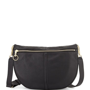 Scott Leather Half-Moon Shoulder Bag, Black - Elizabeth and James