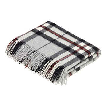 Tartan - Merino Lambswool -  Grey Thompson - Throw Blanket