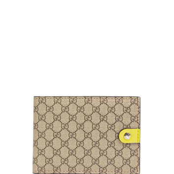 Micro GG Supreme Canvas Bi-Fold Wallet, Yellow - Gucci